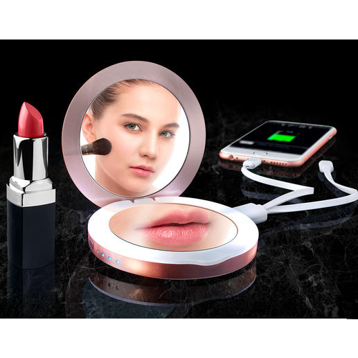 3-in-1 Pocket Mirror - Hand-sized vanity mirror, magnifying mirror and power bank in one.