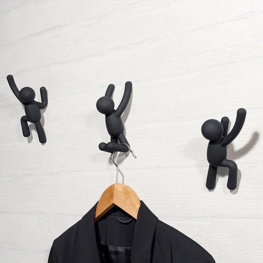 """Coat Hooks """"Climber"""", Set of 3 - A contemporary piece of art or an artistic wall-mounted coat rack? Both!"""