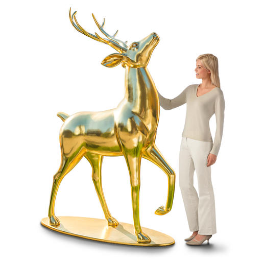 Gold-shimmering Deer With a raised head and a proud stance, the impressive deer is the centre of all attention.
