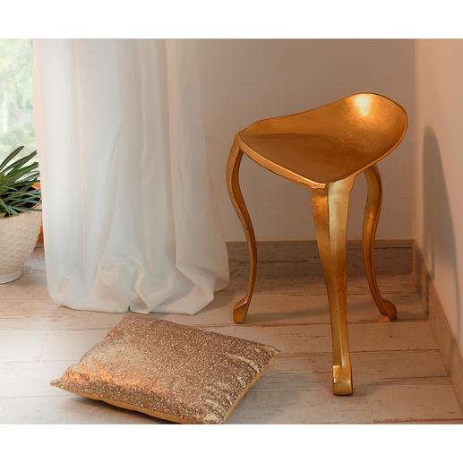 Three-legged Stool - Elegant shimmering gold colour. It could have come from a baroque castle – but it is modern cast aluminium.