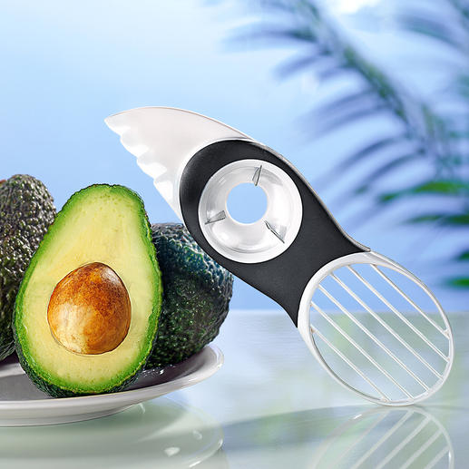 3-in-1 Avocado Slicer Split, pit, scoop and slice avocados with just one ingenious tool.