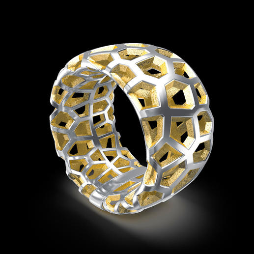 3D Necklace or 3D Ring Silver jewellery in lattice design with a gold coloured lustre.
