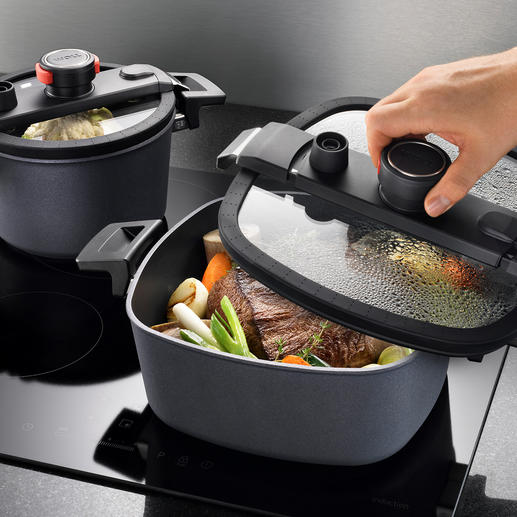 Active Lite Cookware Premium cookware made of die-cast aluminium with diamond coating and lids with air-tight seal.