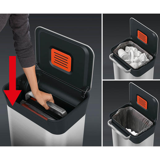 Simply lift the handle and press down: Packets, cans, small items, ... are squashed together and the 30-litre volume is thus utilised in full.