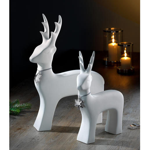 Stylish reindeer Decorative, but not playful. With subtle necklace.