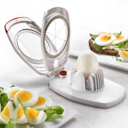 Zyliss® Duo Egg Cutter The cutting wires split your hardboiled egg into 8 fine slices suitable for sandwiches.
