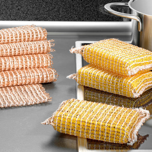 Copper Sponge, Set of 3 or Copper Cloth, Set of 5 Sparkling clean without much effort – and without scratches or traces of abrasion. Naturally antibacterial.