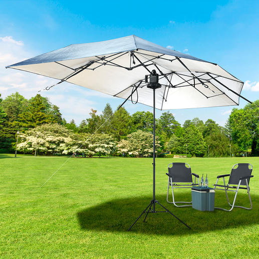 Your portable 8m² sunshade: Telescopic sunshade stand available separately.