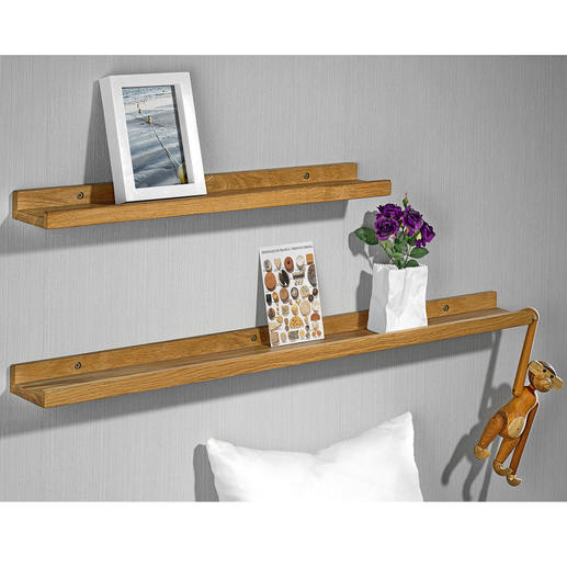 Real Wood Picture Shelves, Set of 2 (23.6″ + 35.4″) - Bang on-trend: Your personal gallery of pictures, objects, souvenirs, ...
