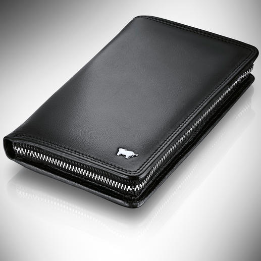 Mobile phone compartment on the left, 8 card slots and coin pocket with press stud on the right. Two large pockets for bank notes and documents at the back.