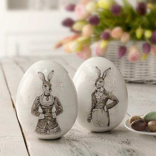 Easter Eggs Nostalgic Hare Couple Magnificent porcelain eggs with hare motifs – and a touching nostalgic charm.