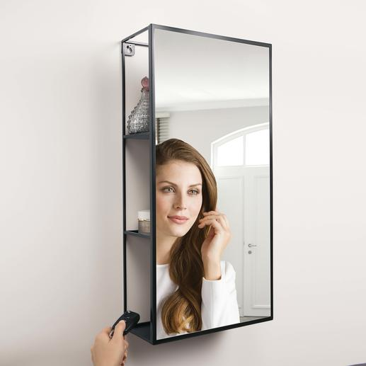 Mirror Rack Cubiko - The mirror with cleverly integrated hidden storage.
