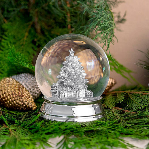 "Silver-plated Snow Globe - A ""white Christmas"" with every shake"