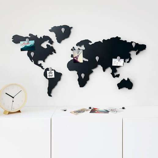 Magnetic World Map For globetrotters and meeting rooms.