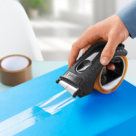 Tendo Packing Tape Dispenser Saves effort and works without having to pull and tear.