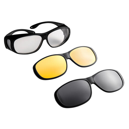 3-in-1 Over-Glasses - The ingenious over-glasses with magnetically attachable lenses.