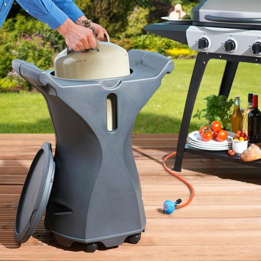Grillbob - The elegant cover for gas bottles. At the same time an ingeniously practical side table on wheels.