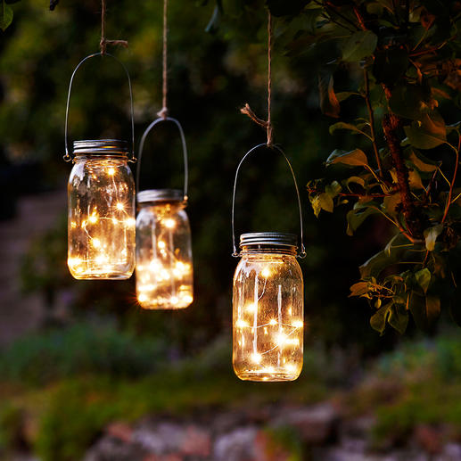 "LED Light Chain in Canning Jar, Set of 3 - ""Fireflies"" in a preserving jar softly light up the darkness."