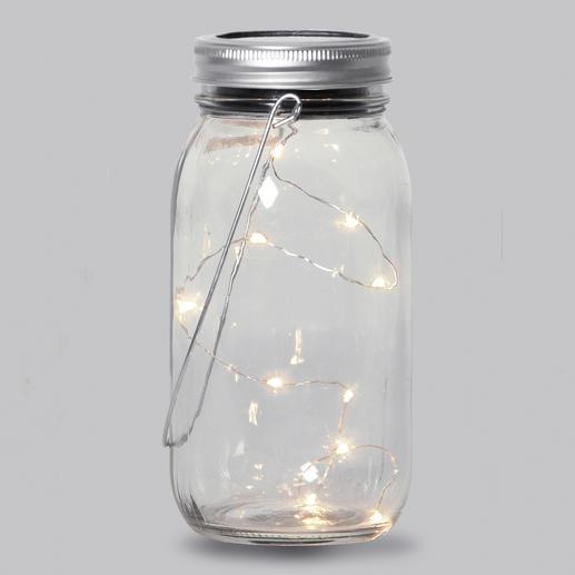 Each jar has a solar panel in the lid and a twilight sensor.