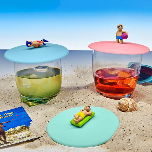 Glass Cover, Set of 3 Cool beach boys and girls protect your drinks from annoying insects.