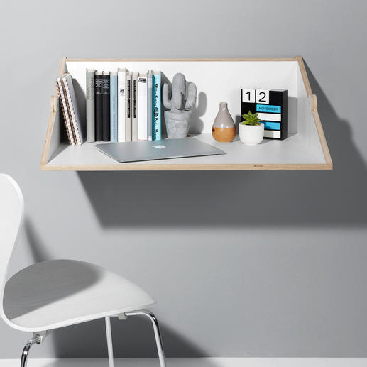 Simply swing it through 90° to create a practical work surface and storage space.