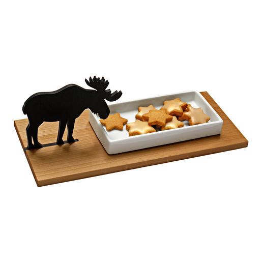 Elk Biscuit Tray or Rabbit Cress Tray Far from the usual Christmas kitsch: The enchanting biscuit tray with elk silhouette.
