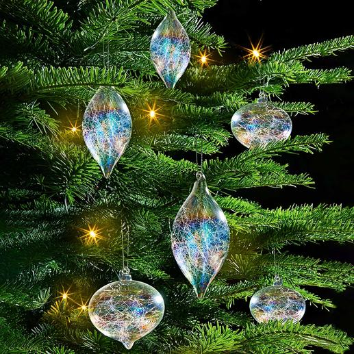 Iridescent Glass Fibre Tree Ornament, Set of 6 Tree ornament with glass filament filling and rainbow shimmer.