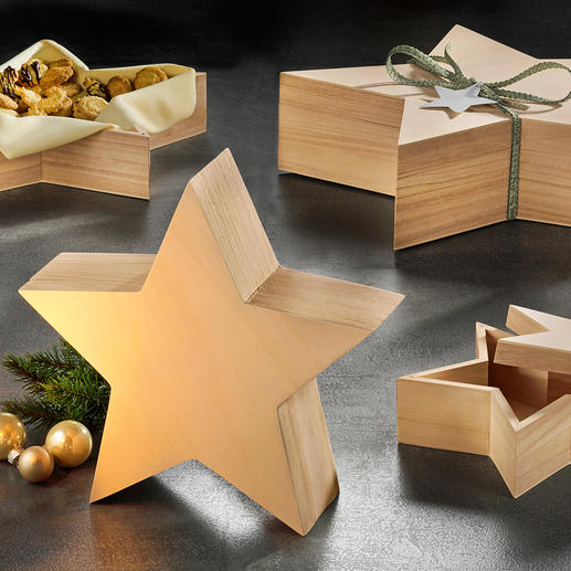 Star Boxes, Set of 4 - Beautiful as gift packaging or decoration. Placed vertically or flat.