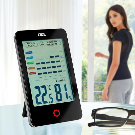 ADE Climate Guard Displays and calculates the air humidity in the room. And warns against danger of mould.