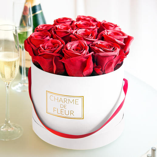 """Charme de Fleur"" Roses Gift Box - Twelve life-like, red roses in a stylish box."