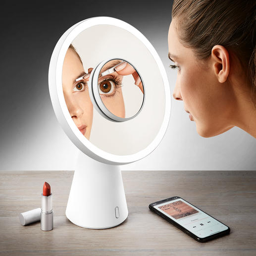 "4-in-1 Cosmetic Mirror ""Moon Mirror"" - From cosmetic mirror to table lamp in the blink of an eye."