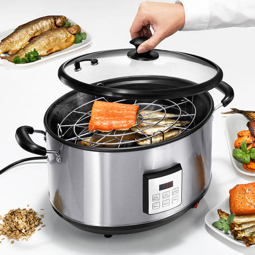Electric Smoking Pan Hot or warm smoker. Electronic precision. Indoor and outdoor.