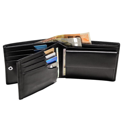 Patented Leather Wallet with Integrated RFID Protection - The leather wallet with a patented security system for your credit cards.