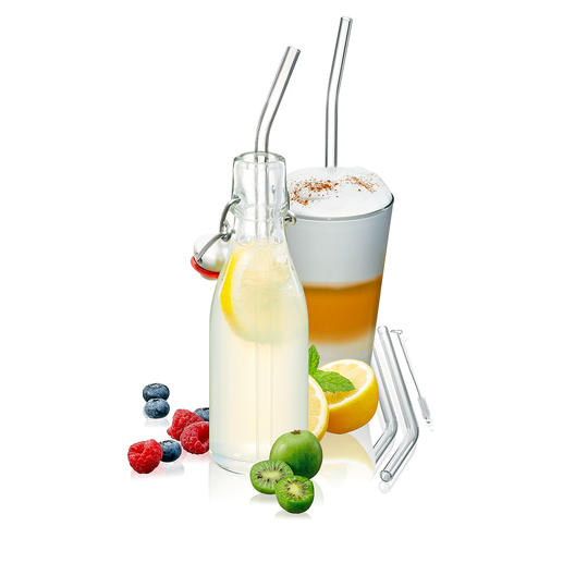 Glass Straw, Set of 8 Straws made of borosilicate glass instead of plastic: Robust, easy-care, recyclable.