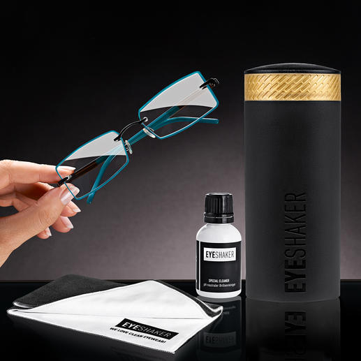 "Eyeshaker Eyewear Cleaning Set - Brilliant innovation: The ""Eye Shaker"" – clean your spectacles in the blink of an eye."