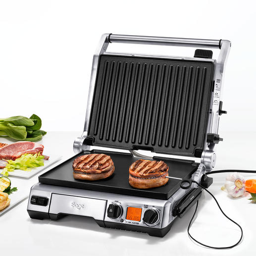 Smart Grill™ Pro Constantly measures the core temperature. Automatically adjusts grilling time and temperature. And advises you of the optimal resting period.