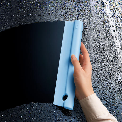 Silicone Shower Squeegee Feels soft to the touch, flexible and without sharp edges.