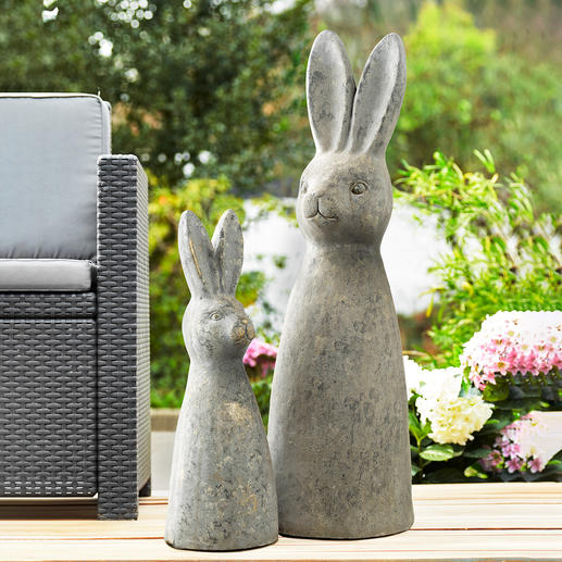Rabbit statue Artfully abstracted. XL figurine. Sturdy stone look, 100% weatherproof.