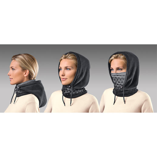 Just pull it on... and it's your comfortable scarf. If needed, the cosy fleece hood can protect your head and ears... and even your mouth and nose when you pull up the microfibre insert.