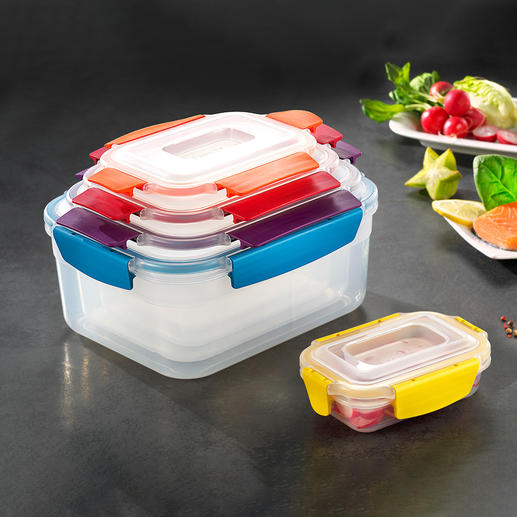 5-in-1 Food Storage Box Functionality in stylish colours. By Joseph Joseph, London.