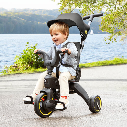 Foldable Adjustable Tricycle Liki Folds up in seconds to hand luggage size. Popular item for children from 10 months to 3 years old.