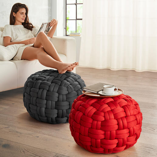 XL Mesh Pouf Pouf made of finger-thick cotton yarn – finished by hand in basket weave pattern.