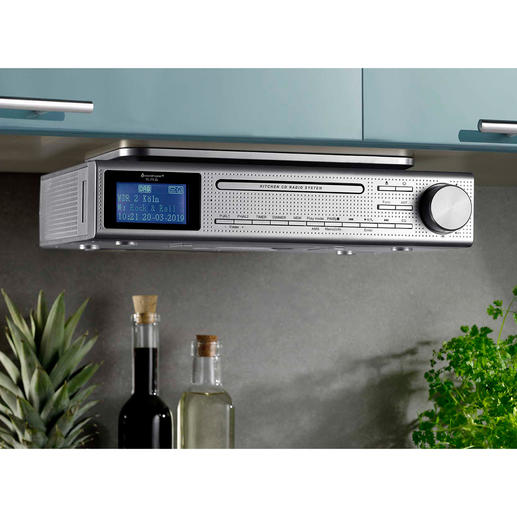 Kitchen Music Centre Elite Line Plays FM and digital radio, CD and MP3 music. With Bluetooth connectivity, USB playback and audio jack connector.