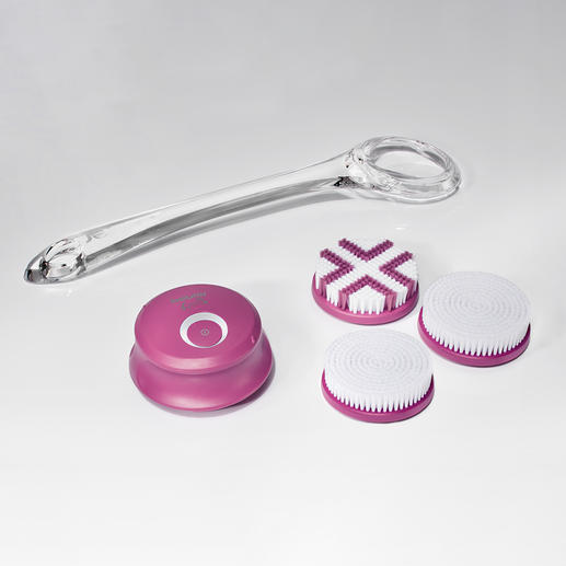 Supplied with two cleaning attachments, an exfoliation attachment and a handle.