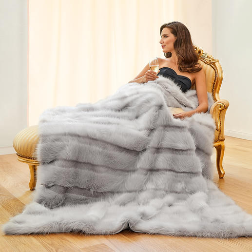 Angora Soft Faux Fur Blanket The luxurious faux fur blanket. With long and short pile striped pattern. Super fluffy and feather-light.