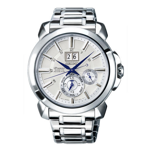 Seiko Premier Kinetic Perpetual Men's Watch SNP159P1 - Energy-saving Auto Relay feature eliminates the need for watch winders, manual winding and re-setting.