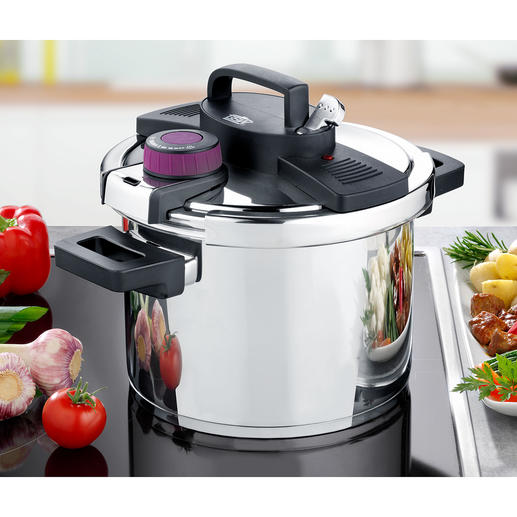 Pressure Cooker Easy Click® Modern pressure cooker and classic 6-litre stainless steel pot in one.