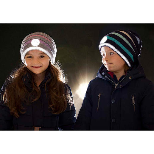 Twinkle Kid® Reflector Beanie - The knitted beanie effect is secured and cool. Easily visible in the dark, thanks to bright reflector fibres.