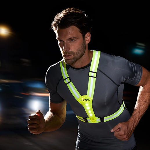 LED Safety Vest Ideal for cycling, jogging, hiking, going for a walk, on the way to school, etc. in the dark.