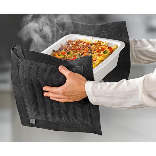 XXL Leather Pot Holders Protects the entire hand without slipping off and offers optimum protection against heat.